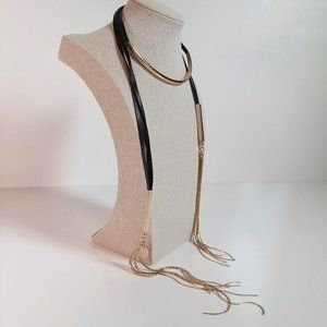 Cara Couture NY Black & Gold Lariat Wrap Necklace